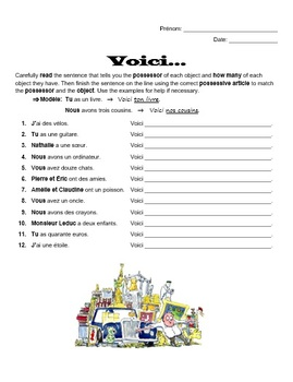 French Possessive Adjectives Worksheet - Voici...