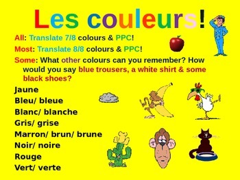 French Teaching Resources: PowerPoint Presentation: Colours