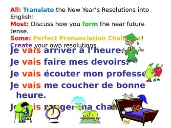 French Teaching Resources. The Near Future Tense & New Year's Resolutions.