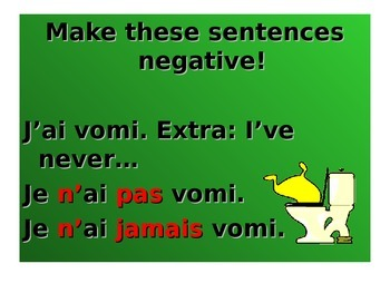 French Teaching Resources. PowerPoint: The Perfect Tense & Negatives.