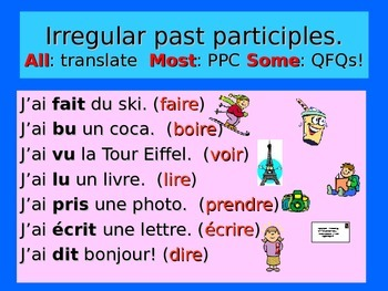 French Teaching Resources. PowerPoint: Perfect Tense+ Irregular Past Participles