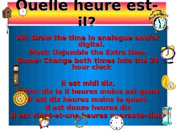 French Teaching Resources. PowerPoint Warmer/ Starter Activity: The time
