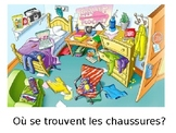 French- Preposition Practice in a Messy Room