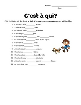 French Preposition de with definite articles - C'est a qui? worksheet