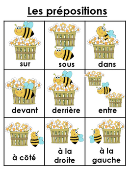 french prepositions bundle student vocab word wall visuals writing booklet. Black Bedroom Furniture Sets. Home Design Ideas