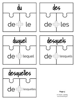 French Prepositions Puzzle
