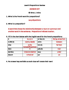 French Prepositions Review Notes