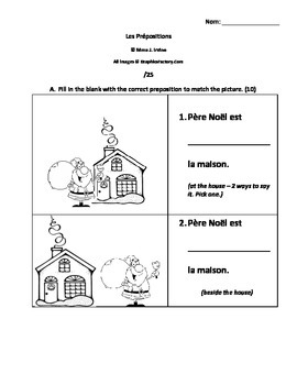French Prepositions Worksheet