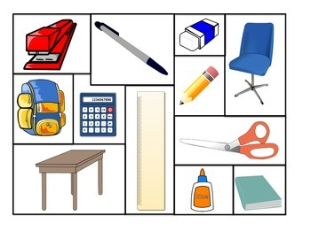 French Prepositions with  school supplies (FSL)