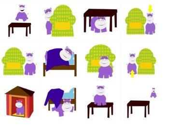 French Prepositons: Ou est l'hippopotame? Memory Game