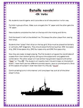 French Present Tense ER Verb Battleship (Bataille navale)