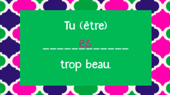 French Present Tense Practice Powerpoint (-er, -ir, -re + 8 irregulars)