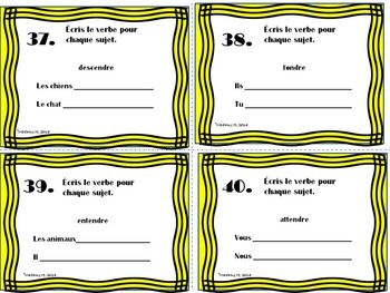 French Present Tense Verbs Task Card Bundle
