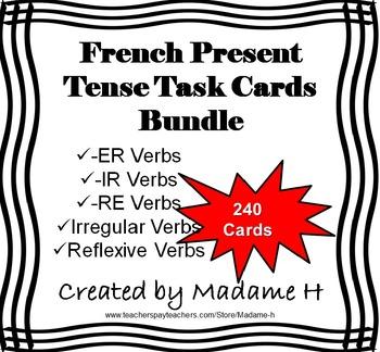 French Present Tense Verbs Task Card Bundle