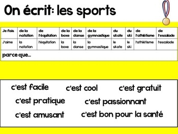 French Presentation and Games: Les Sports (avec faire)