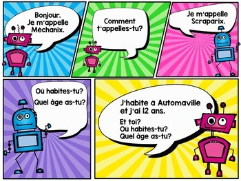 French Presentation and Games: The Basics (Robots theme)