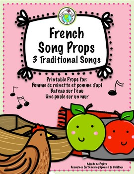 French Printable Song Props for Three Traditional Songs