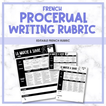 French Procedural Writing Rubric - Rubrique (la marche à suivre)