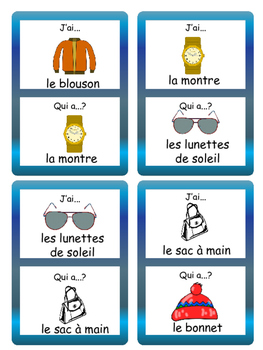 French Product Descriptions Les Vêtements- J'ai/Qui a ? Card Game-Clothing Vocab