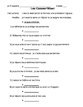 French Profession Riddles
