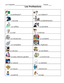 French- Profession Student Note Sheet