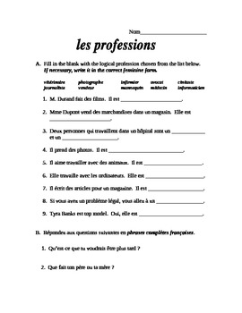 French Profession Vocabulary Practice, Quiz