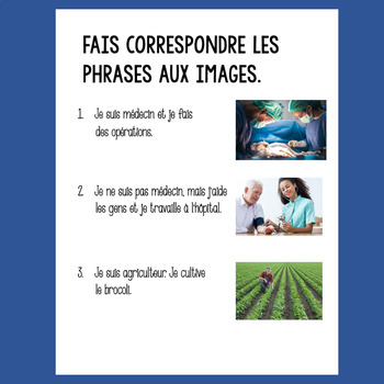 French Professions Les Professions Google Drive Activities for levels 2 & 3