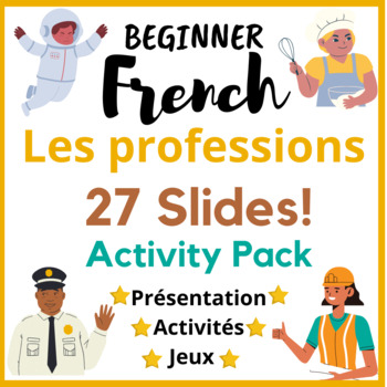 27 slides! French Professions, metiers, job lesson bundle + games
