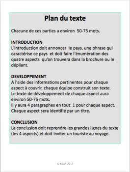 """French: Projet: Voyages """"Un pays à visiter!"""", Brochure publicitaire"""