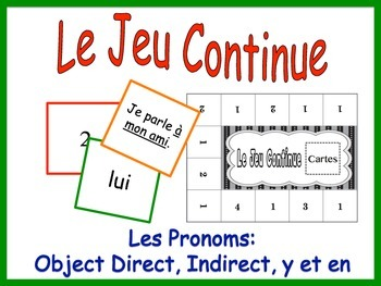 French Pronoun Activity for Groups: Direct and Indirect Object, Y and EN