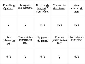 French Pronoun Activity for Groups: Y and EN