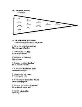 French Pronoun Exam (Includes Dir, Indir, Y, En)