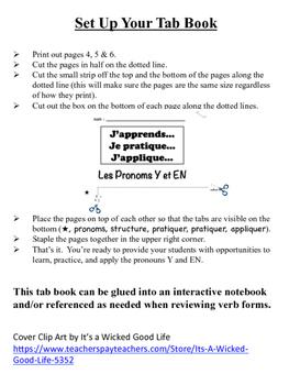 French Pronouns (Y & En) Tab Book