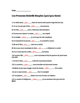 French Pronouns with qui/que/dont