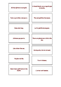 French Teaching Resources. Proverbs Matching Cards Warmer/ Start Activity