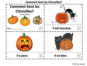 French Feelings Pumpkins 2 Emergent Reader Booklets