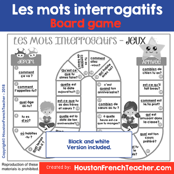 French Question Word - Les mots interrogatifs - Board Game Common questions
