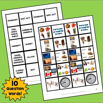 French Question Words, Interrogatives Interactive Notebook Flashcards