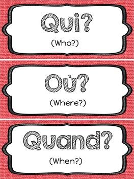 French Question Words / Mots Interrogatifs / Flashcards / Word Wall