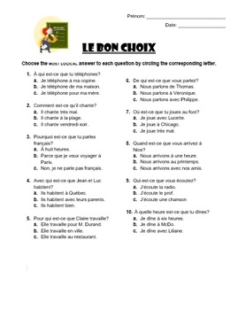 French Question Words - Multiple Choice
