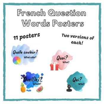 French Question Words Posters