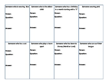 French Questioning Activity