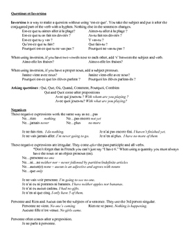 French Questions and Negatives