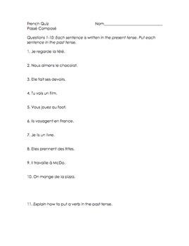 French Quiz (3 versions!) - Passé Composé w/ Avoir & Irregular Past Participles