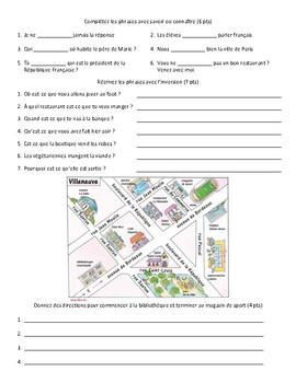 French - Quiz - City, Past Tense, Inversion, Directions