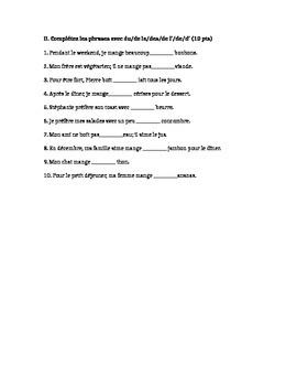 French Quiz- Food Vocabulary