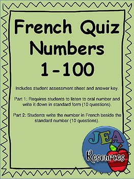 French Quiz - Numbers 1-100