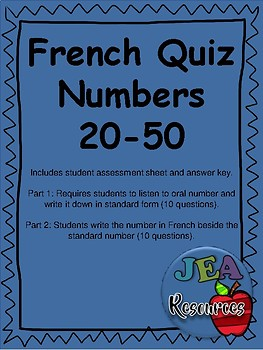 French Quiz - Numbers 20-50