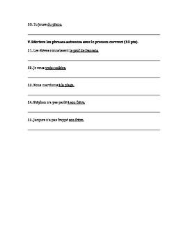 French Quiz- Pronouns