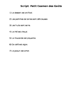 French Quiz Script on Food and Describing It